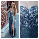 Affordable Shinning Sweet Heart Side Split Sequin Evening Long Prom Dresses, WG218