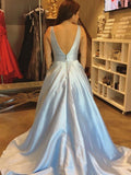 Affordable Simple V Neck A line Light Blue Satin Long Evening Prom Dresses, 17463