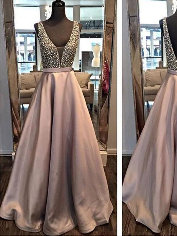 Backless A line Evening Prom Dresses, 2018 Long Party Prom Dress, Custom Long Prom Dress, Cheap Party Prom Dress, Formal Prom Dress, 17034