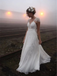 Backless Cap Sleeve V Neck Simple Beach Wedding Dresses, WD329