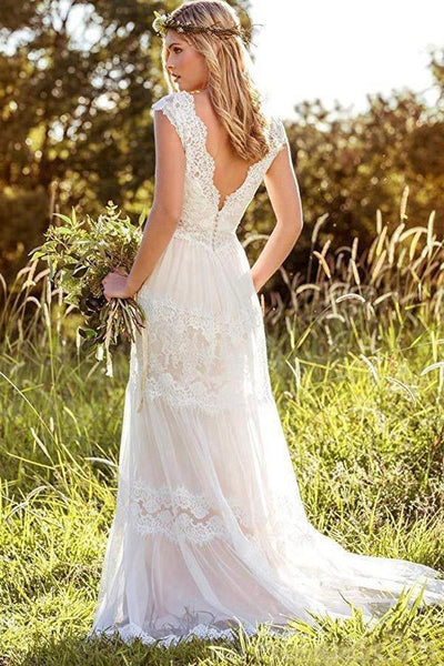 Backless Cap Sleeves Lace Cheap Wedding Dresses Online, Cheap Bridal Dresses, WD526
