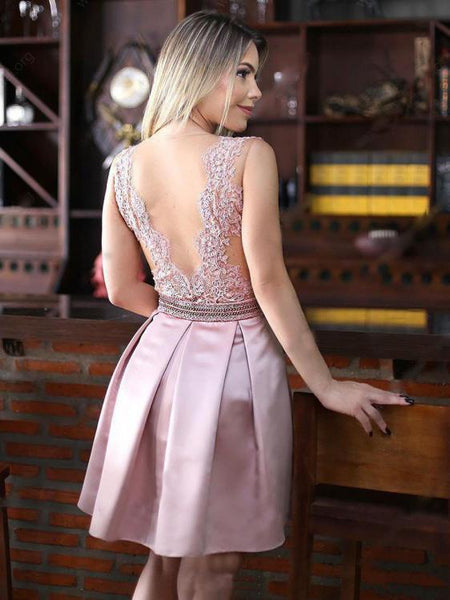 Backless See Through Pink Lace Cheap Short Homecoming Dresses Online, CM630
