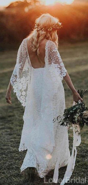 Backless Side Slit Lace Mermaid Cheap Wedding Dresses Online, Cheap Unique Bridal Dresses, WD588