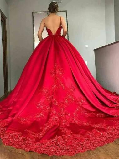 Backless Spaghetti Straps V Neck Red A-line Long Evening Prom Dresses, 17639