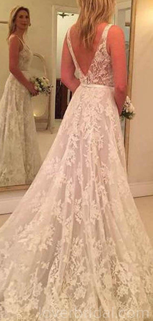 Backless V Neck A-line Lace Cheap Long Wedding Dresses Online, Cheap Bridal Dresses, WD523