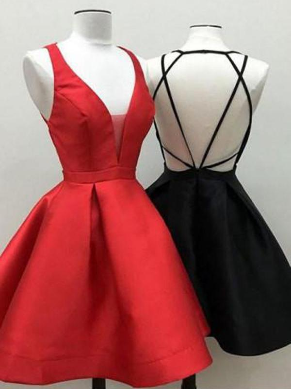 Backless V Neck Black Cheap 2018 Homecoming Dresses Under 100, CM395