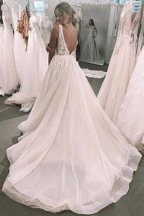 Backless V-Neck Lace A-line Cheap Wedding Dresses Online, Cheap Bridal Dresses, WD614