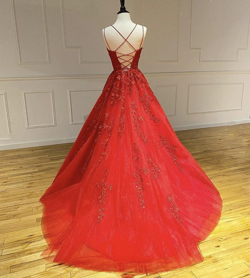 Ball Gown Red Lace Beaded Cheap Long Evening Prom Dresses, Evening Party Prom Dresses, 12303
