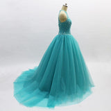 Ball Gown Turquoise Halter Beaded A-line Long Evening Prom Dresses, Cheap Sweet 16 Dresses, 18356
