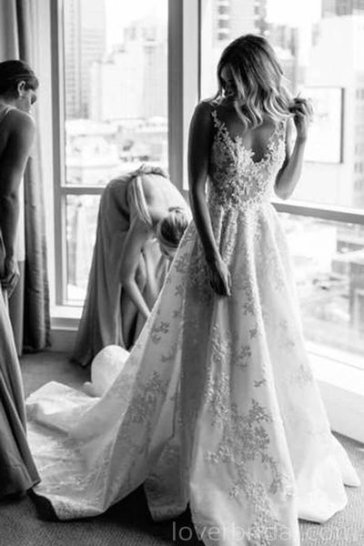 Bateau A-line Lace Cheap Long Wedding Dresses Online, Cheap Bridal Dresses, WD525