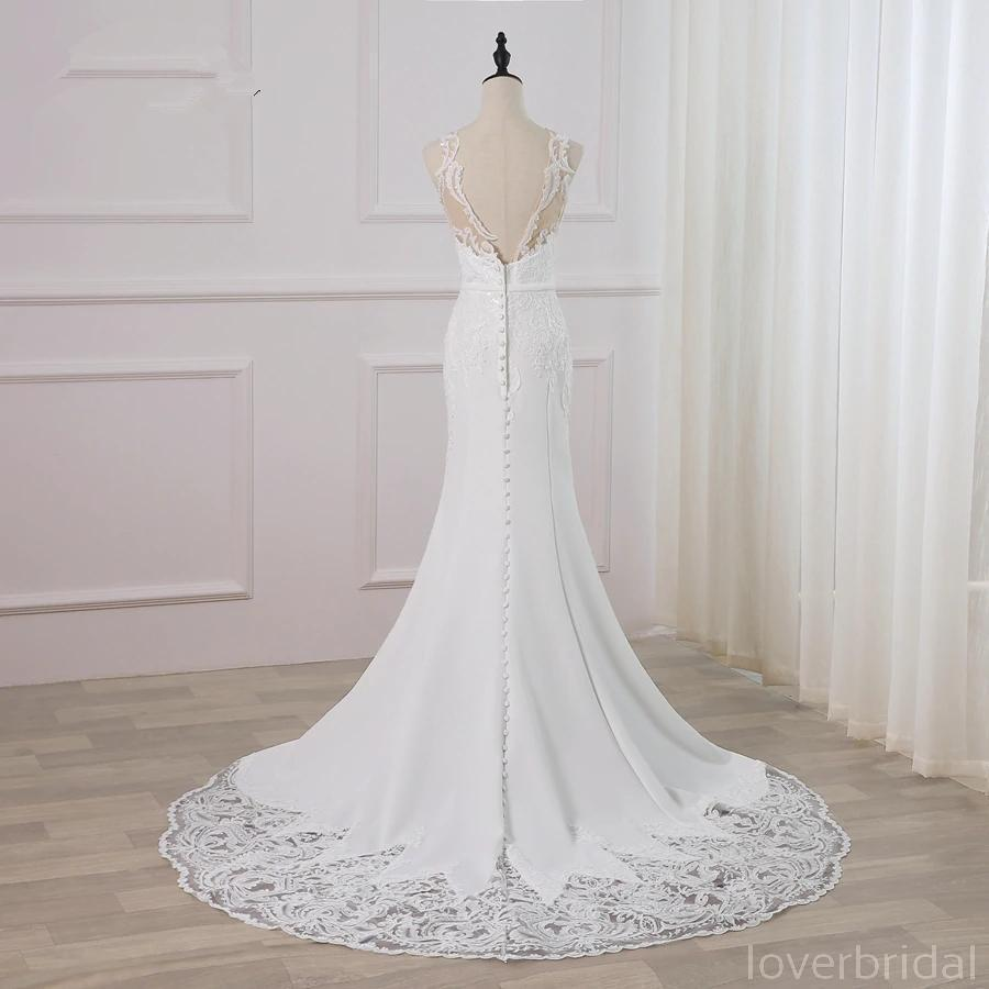 Bateau Lace Mermaid Sexy Cheap Wedding Dresses Online, Cheap Bridal Dresses, WD514