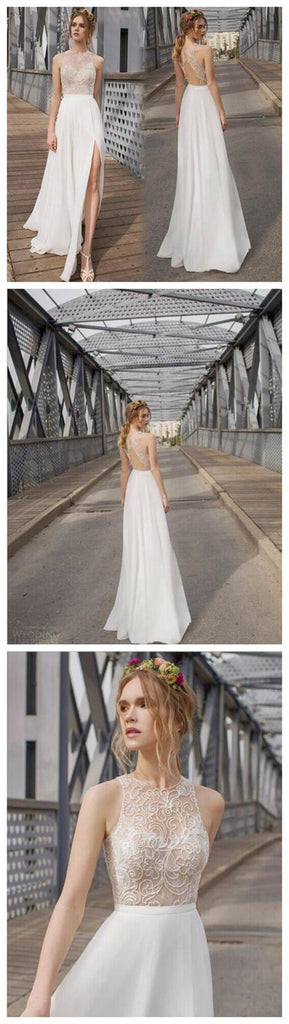 Beautiful White Side Split Prom Dress, Open Back Charming Bridesmaid Dresses, Cheap Simple Beach Wedding Dress, WD0190
