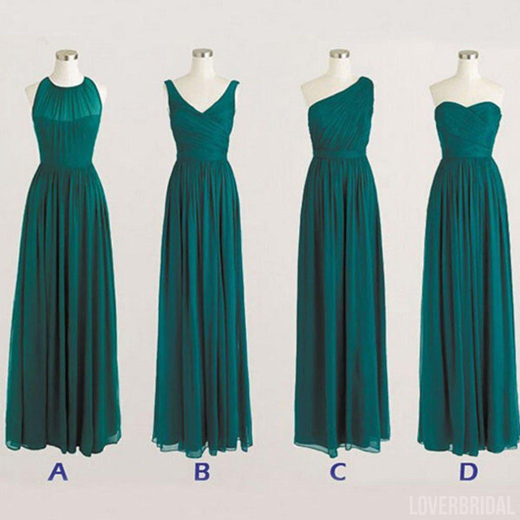 Best Sale Cheap Simple Mismatched Styles Chiffon Floor-Length Formal Long Teal Green Bridesmaid Dresses, WG183