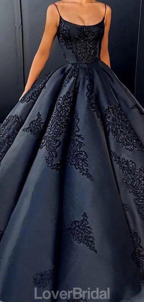 Black A-line Spaghetti Straps Ball Gown Long Evening Prom Dresses, Evening Party Prom Dresses, 12193