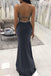 Black Beaded Mermaid Spaghetti Straps Cheap Long Evening Prom Dresses, Cheap Sweet 16 Dresses, 18379