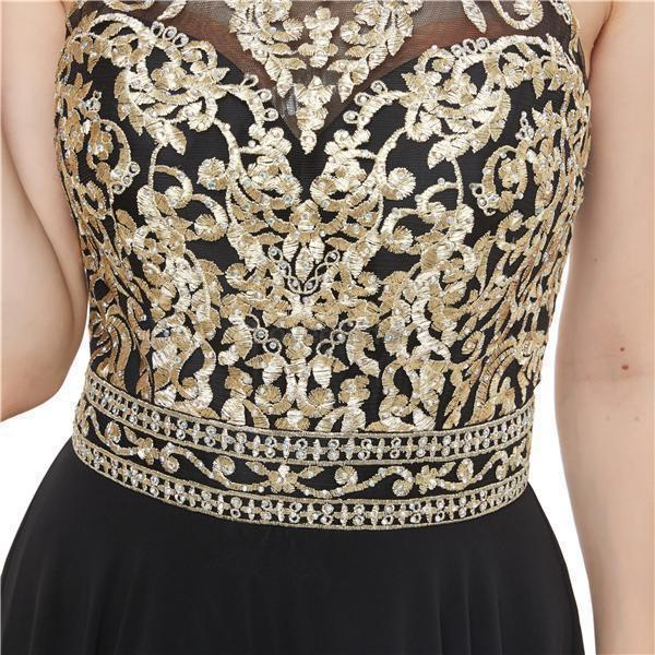 Black Chiffon Gold Lace Beaded Evening Prom Dresses, Evening Party Prom Dresses, 12053