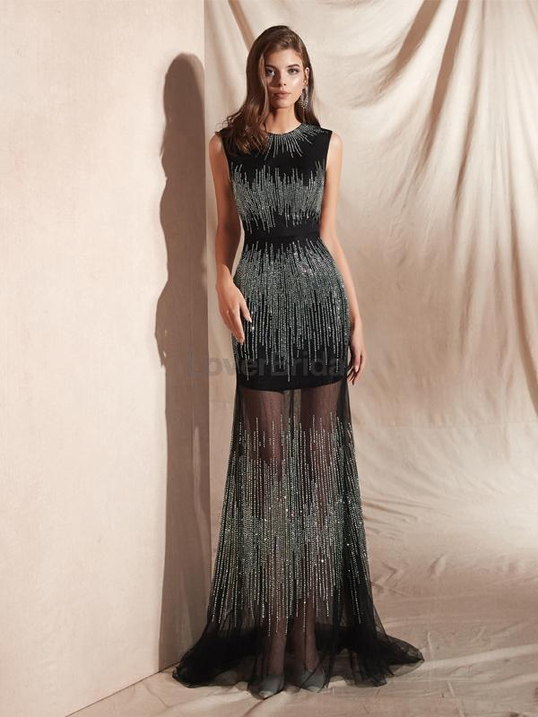 Black Jewel See Through Mermaid Evening Prom Dresses, Evening Party Prom Dresses, 12074