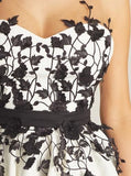 Black Lace Applique White Cheap Short Homecoming Dresses Online, CM615