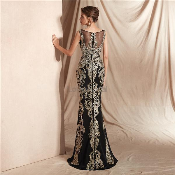 Black Lace Beaded Scoop Mermaid Evening Prom Dresses, Evening Party Prom Dresses, 12070