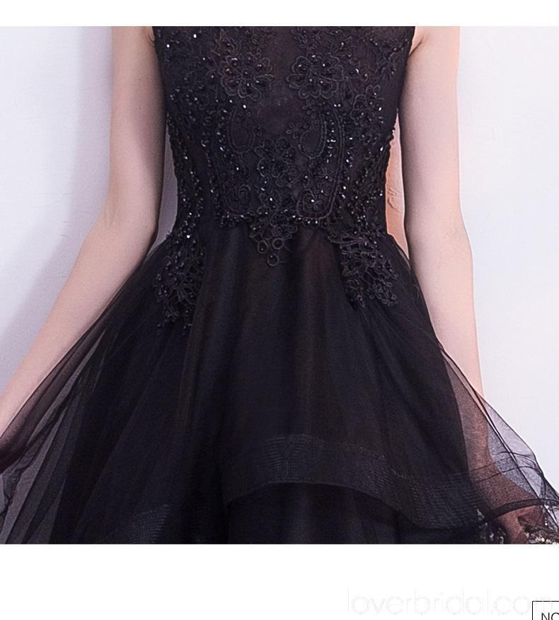 Black Lace Cap Sleeves High Low Cheap Homecoming Dresses Online, Cheap Short Prom Dresses, CM800