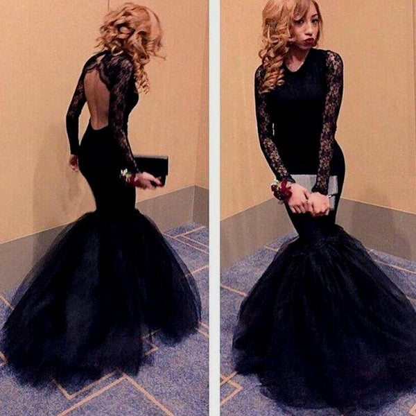 Black Lace Mermaid Long Sleeve Sexy Backless Long Prom Dress, WG526