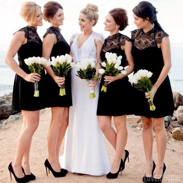 Black Lace Top Short Cheap Chiffon Wedding Bridesmaid Dresses, WG346