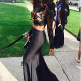 Black Lace Two Pieces Long Sleeve Backless Mermaid Sexy Long Prom Dress, WG537