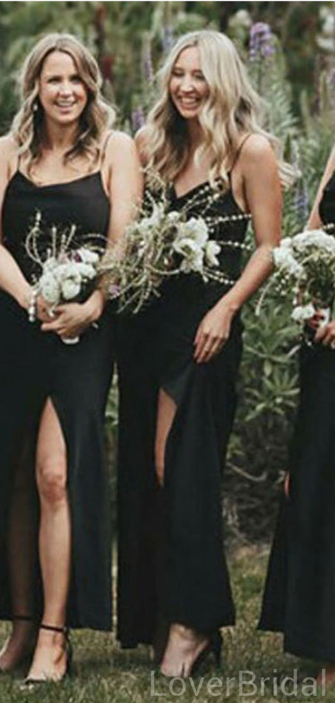 Black Mermaid Side Slit Spaghetti Straps Long Cheap Bridesmaid Dresses Online, WG615