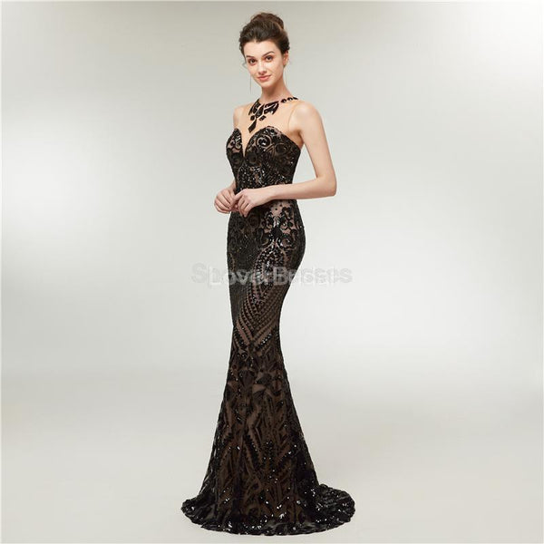 Black Sequin Sparkly Mermaid Evening Prom Dresses, Evening Party Prom Dresses, 12013