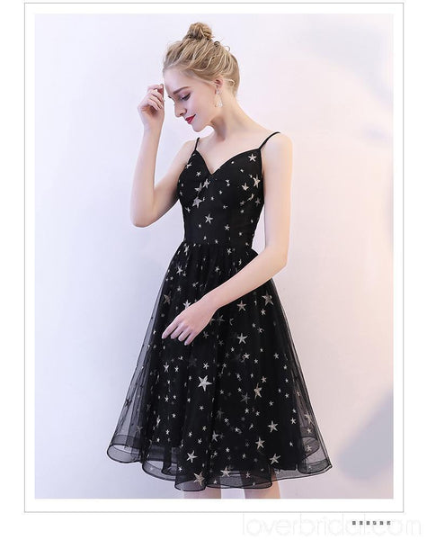 Black Spaghetti Straps Simple Cheap Homecoming Dresses Online, Cheap Short Prom Dresses, CM796