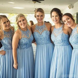 Blue Chiffon Halter Lace Beaded Cheap Long Bridesmaid Dresses Online, WG359