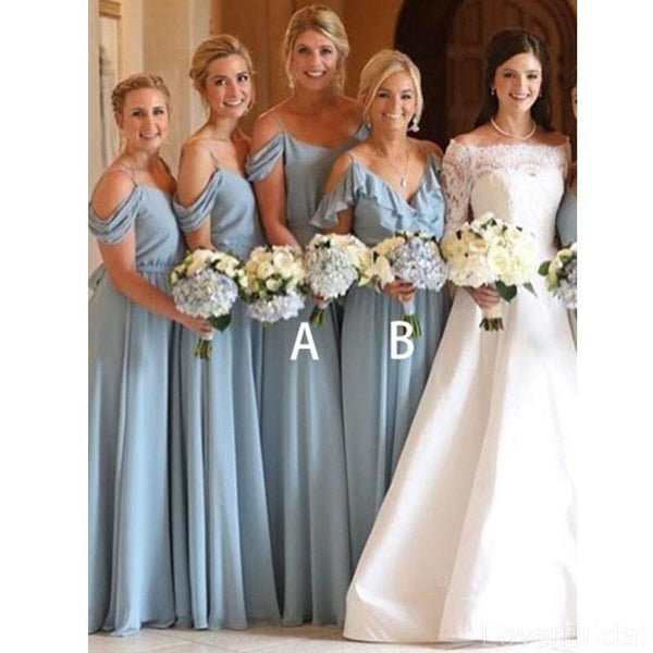 Blue Off Shoulder Chiffon Long Cheap Bridesmaid Dresses Online, WG610