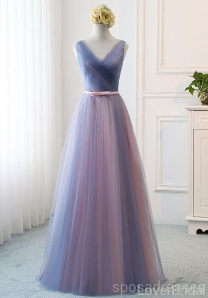Blue Pink Tulle Floor Length Mismatched Cheap Bridesmaid Dresses Online, WG539