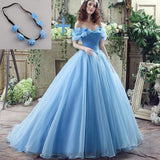 Blue Princess Off Shoulder A-line Long Evening Prom Dresses, Cheap Sweet 16 Dresses, 18344