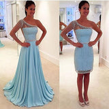 Blue See Through One Shoulder Long Sleeve Two Pieces Long Prom Dresses, WG295