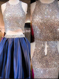 Blue sequin two pieces sparkly off shoulder sexy homecoming prom dress,BD0013