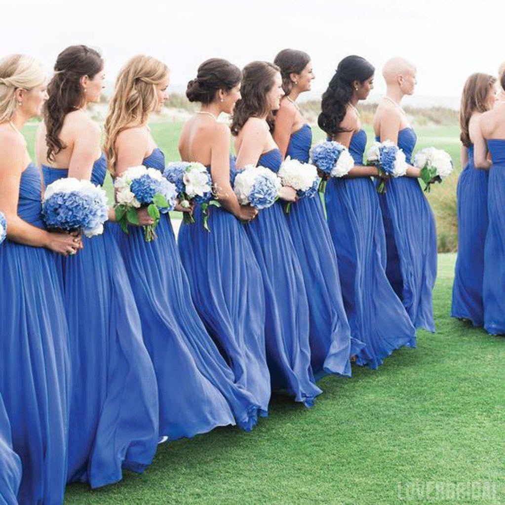 Blue Simple Formal Chiffon Floor Length Wedding Bridesmaid Dresses, WG317