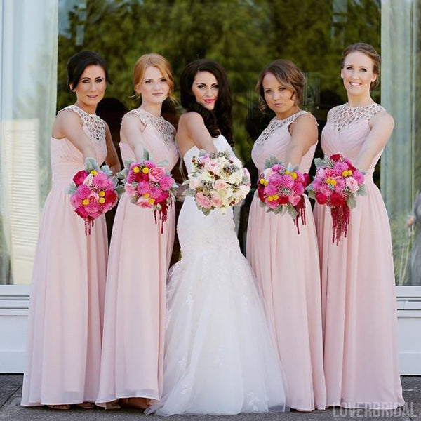 Blush Pink Long Chiffon A Line Formal Cheap Wedding Party Bridesmaid Dresses, WG334