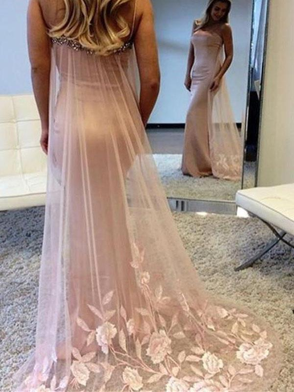 Blush Pink Mermaid Detachable Tail Long Evening Prom Dresses, 17472