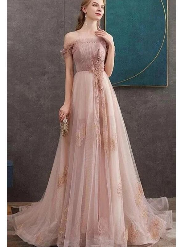 Blush Pink Off Shoulder Long Cheap Evening Prom Dresses, Evening Party Prom Dresses, 12339