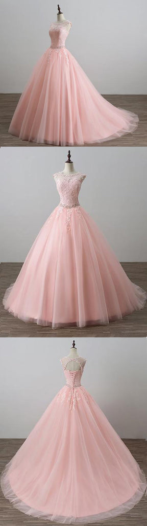 Blush Pink Open Back Lace Illusion A line Skirt Long Evening Prom Dresses, 17555