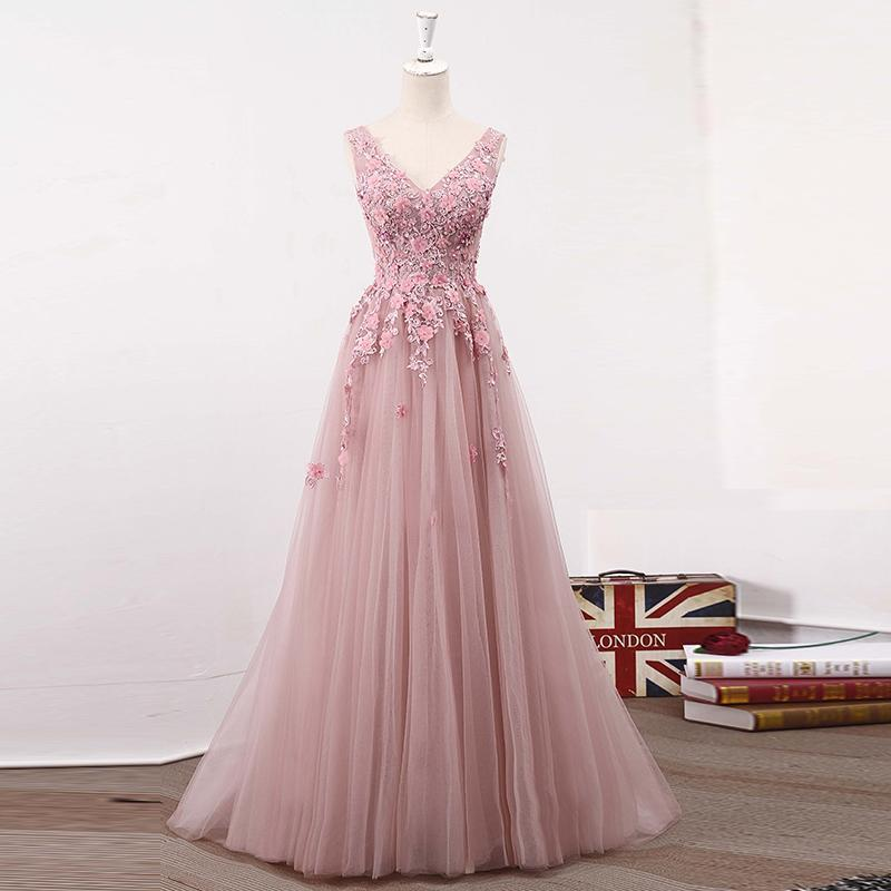 Blush Pink V Neckline Two Straps Lace Evening Prom Dresses, 2018 Party Prom Dress, Custom Long Prom Dress, Cheap Party Prom Dress, 17039