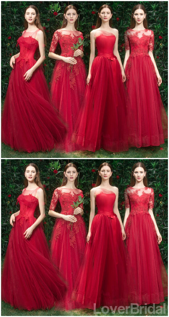 Bright Red Lace Tulle Short Mismatched Cheap Bridesmaid Dresses Online, WG537
