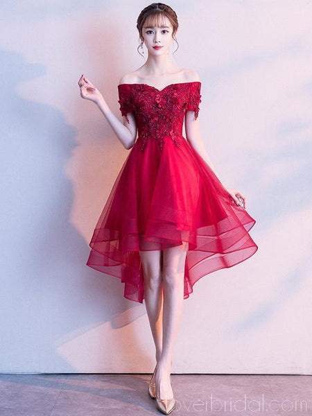 Bright Red Off Shoulder High Low Cheap Homecoming Dresses Online, Cheap Short Prom Dresses, CM783