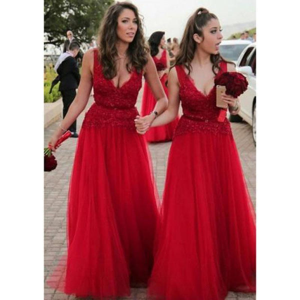 Bright Red V Neck Tulle Lace A-line Cheap Bridesmaid Dresses Online, WG348
