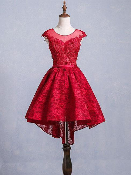 Burgundy Lace Open Back Cap Sleeves Short Homecoming Dresses Online, CM633