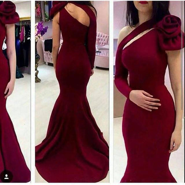Burgundy One Shoulder Long Sleeve Mermaid Long Prom Dress, WG569