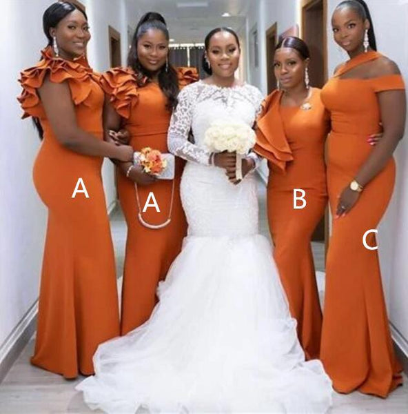 Burnt Orange Mermaid Long Cheap Bridesmaid Dresses Online, WG611