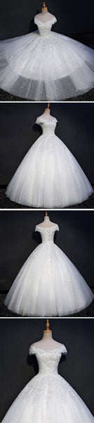 Cap Sleeve Lace Beaded A line Wedding Dresses, Custom Made Wedding Dresses, Cheap Wedding Gowns, WD212