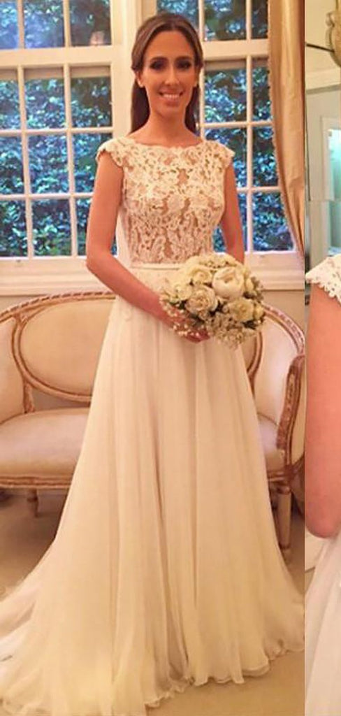 Cap Sleeve Lace See Through Chiffon Beach Wedding Dresses Online, WD418